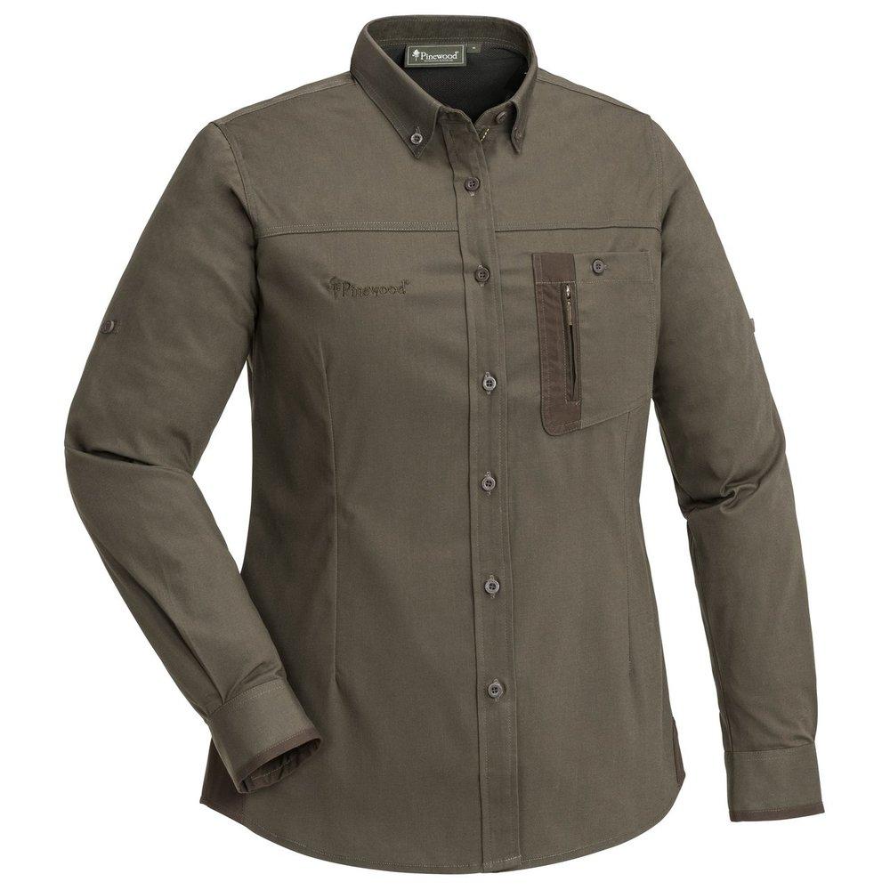 Tiveden TC-Stretch Anti Insect Skjorta Dam Pinewood - Mörkoliv/Mockabrun *
