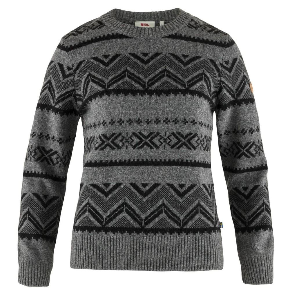 Greenland Re-Wool Pattern Knit Dam Fjällräven - Dark Grey *