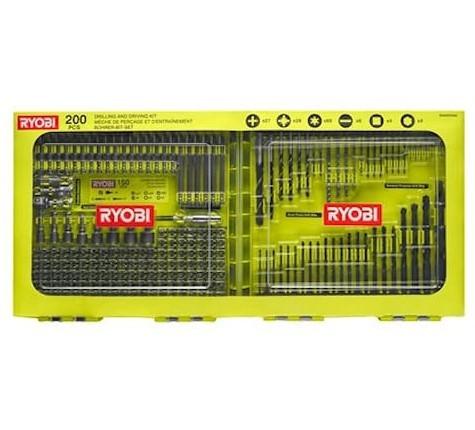 Ryobi RAKDD200 Borr-/bitssats 200 delar