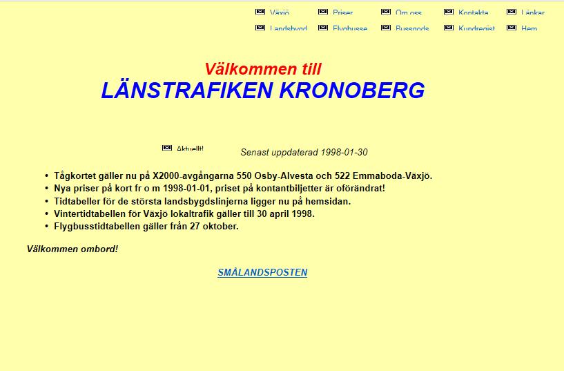 Första hemsidans design
