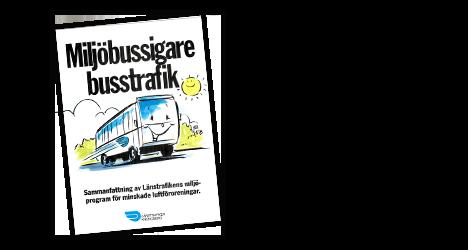 Länstrafikens miljöprogram framsida på folder föreställande en illustrerad glad buss.