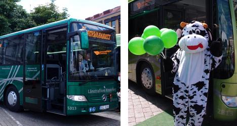 Bild regionbuss och maskot från invigningen 2013.