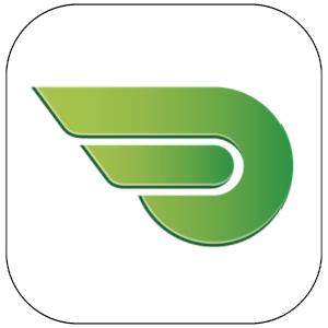 Symbolen för Länstrafiken Kronobergs gamla reseapp har en vit bakgrund och en stiliserad vinge i olika gröna nyanser. Vingen är en del av länstrafikens logotyp.