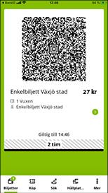 Här visas din biljett. Det är en azteck-kod som du blippar mot läsaren framme hos föraren, eller som tågvärden läser av i tåget. Det visar även hur lång tid biljetten är giltig genom en nedräknare.