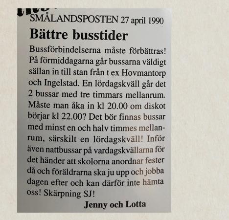 Klipp från tidningen Smålandsposten april 1990