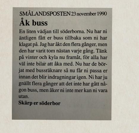 Insändare från Smålandsposten nov 1990