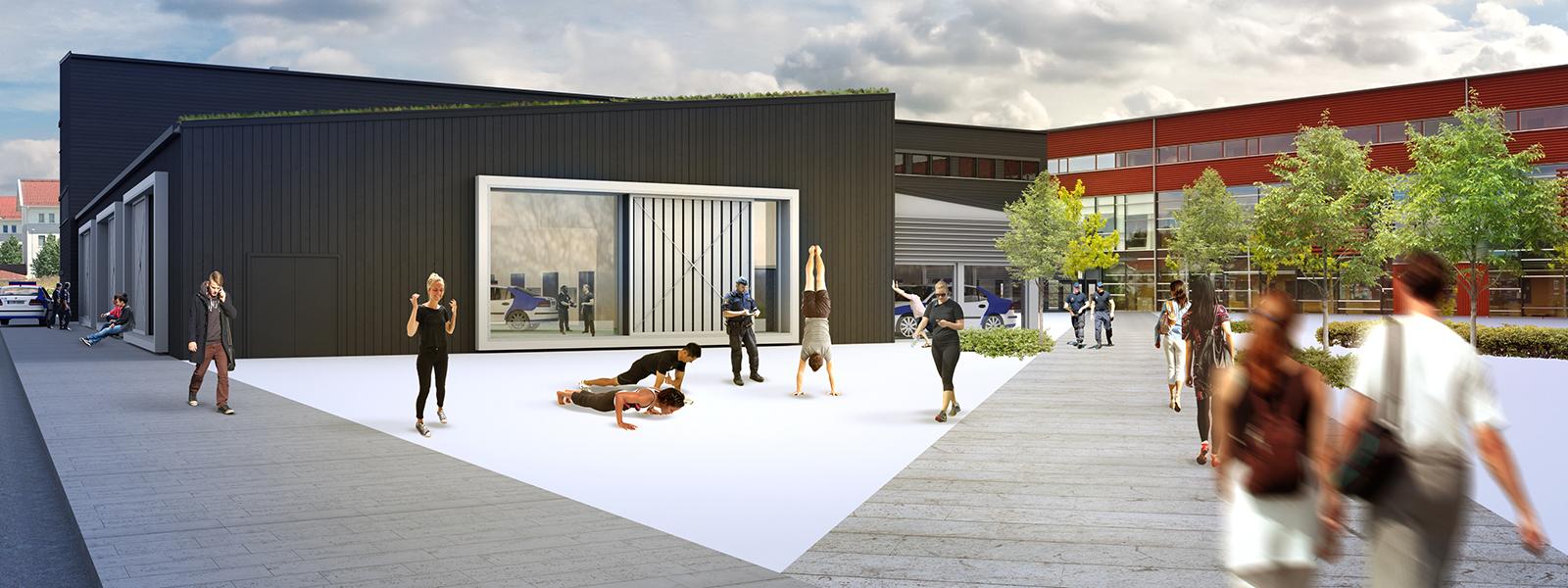 Utbyggnad av Polishögskolan vid Linnéuniversitetet i Växjö.