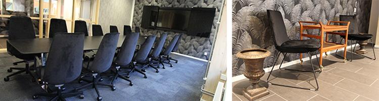 Foto på mötesrum Chanel med mörkare väggar och golv samt mörkt konferensbord och mörka stolar.