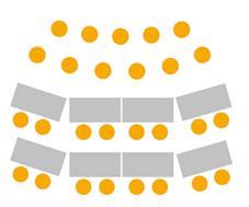 Illustration på en möblering med två olika sittningar - bio- och skolsittning i samma lokal.