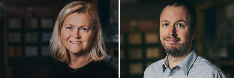 Foto på styrelsens ordförande Lena Wibroe och vice ordförande Hugo Hermansson.