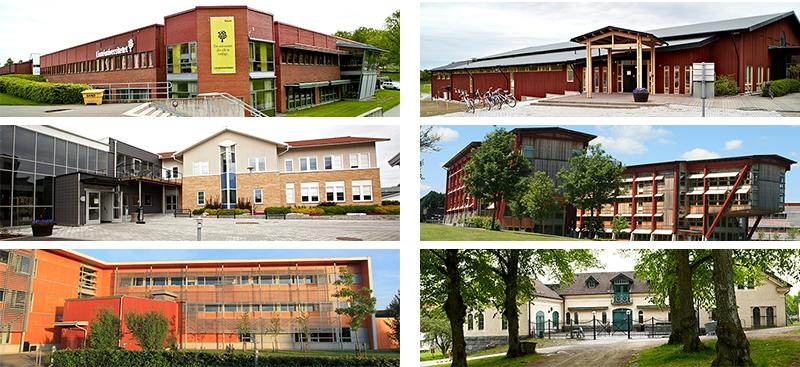 Exempel på Videums fastigheter på Campus i Växjö. Fastigheter för Linnéuniversitetet och för Videum Science Park.