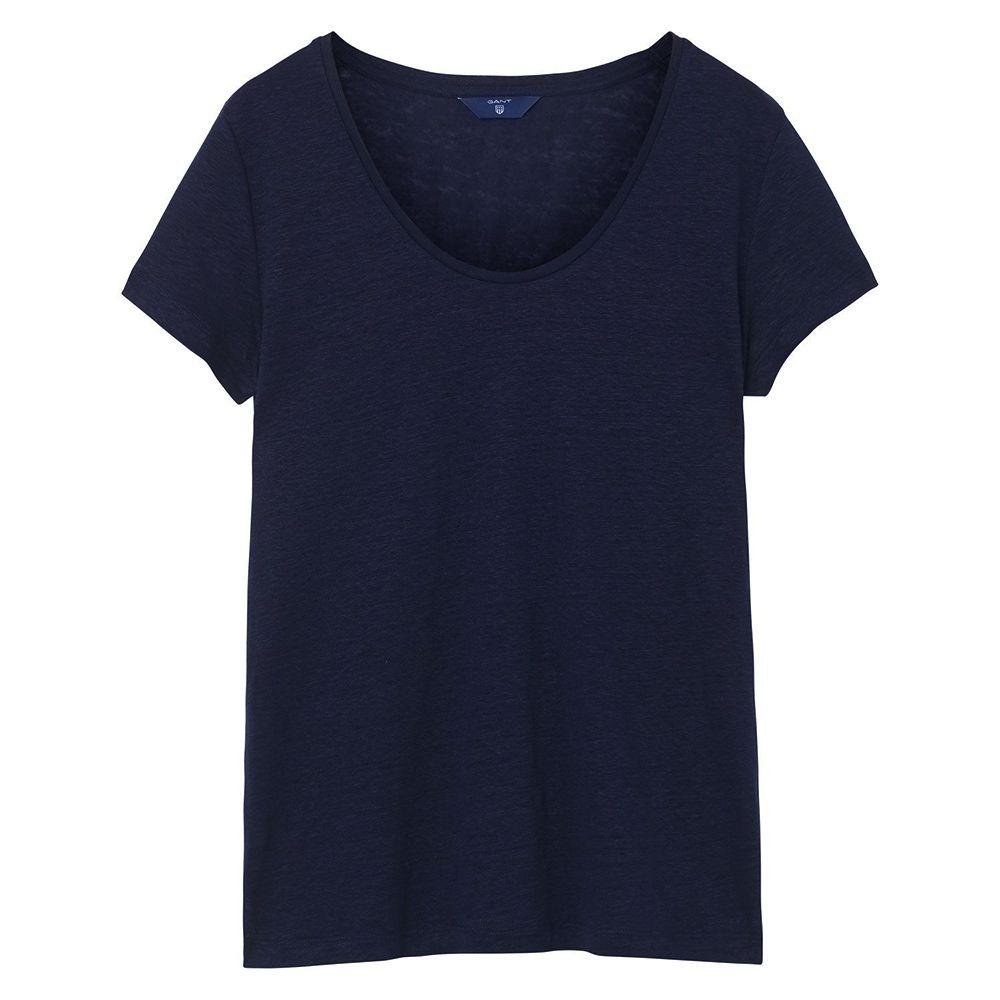 Bild 1 av Linen Scoop Neck T-shirt