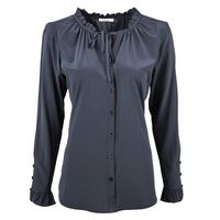 Blouse With Ruffle Neckline