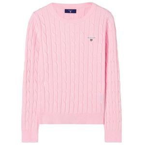 Stretch Cotton Cable Crew Sweater