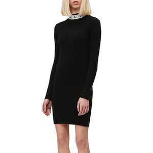 Logo Collar Sweater Dress