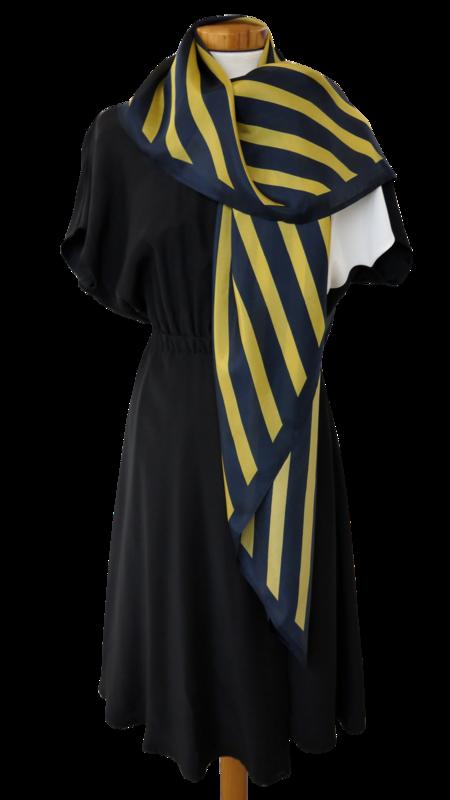 Bild 4 av Scarf Delight in silk -  Blue/yellow stripe