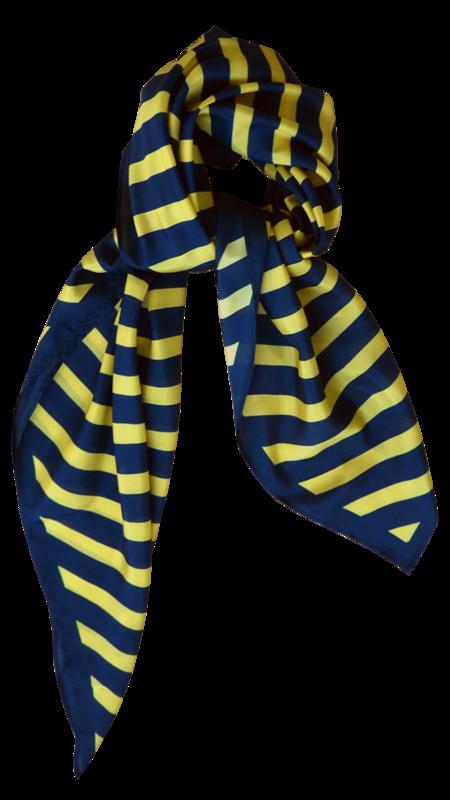 Bild 2 av Scarf Delight in silk -  Blue/yellow stripe