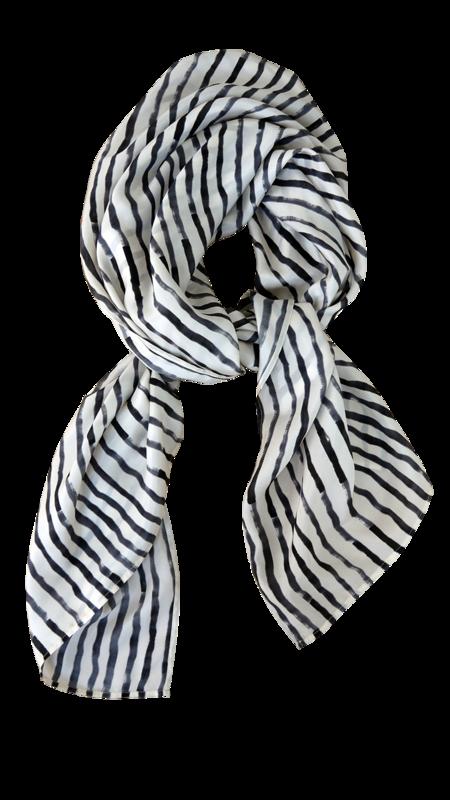 Bild 2 av Silk scarf Painted stripe - 135 cm