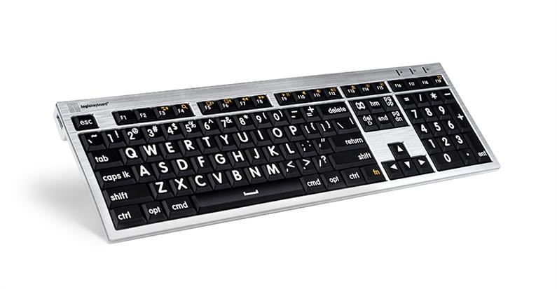 Logickeyboard MAC Alba hvit på svart