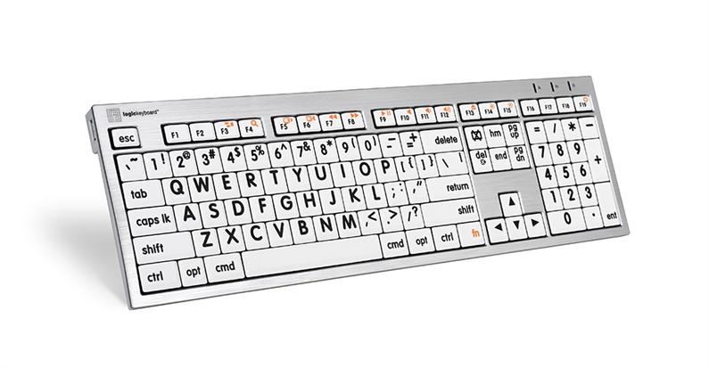 Logickeyboard MAC Alba svart på hvit