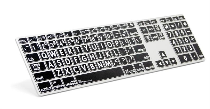 Logickeyboard MAC Original hvit på svart