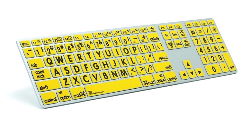 Logickeyboard MAC Original svart på gult