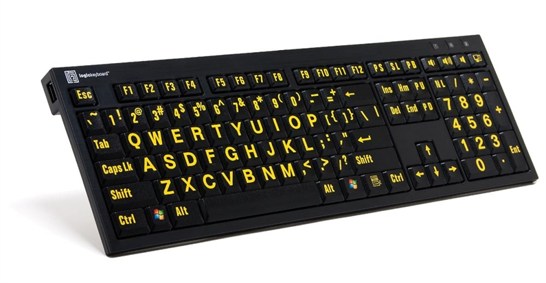Logickeyboard PC Nero gult på svart