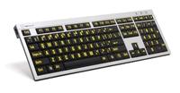 Logickeyboard PC gult på svart