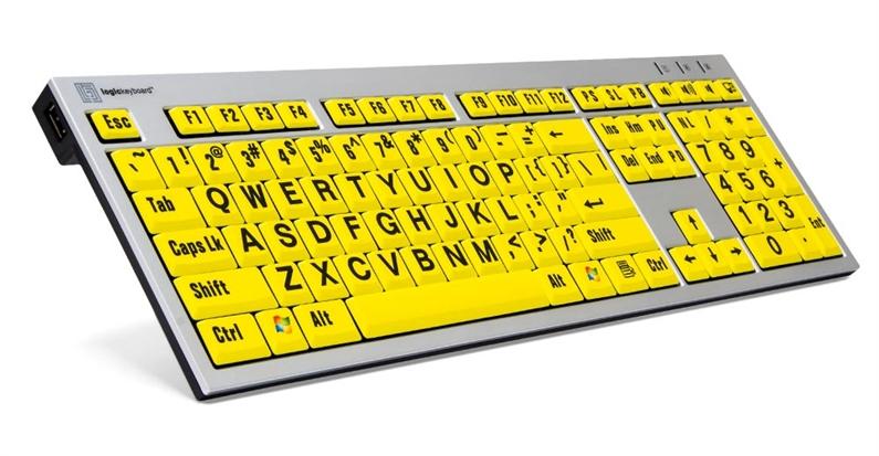 Logickeyboard PC svart på gult
