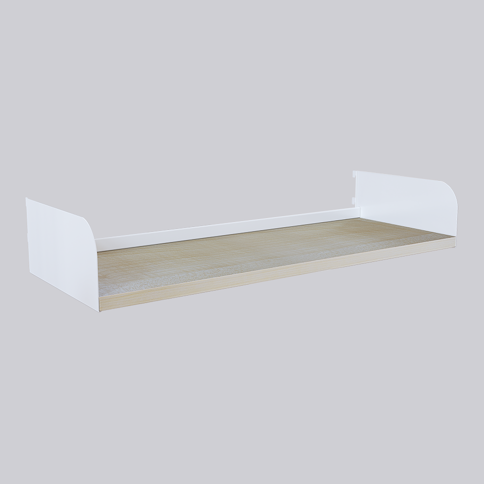 Wooden shelf with straight shelf end 135 mm