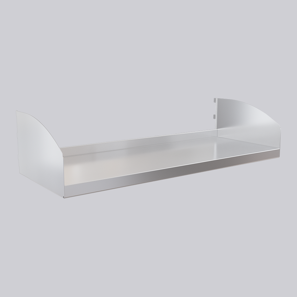 Metal shelf with shelf ends, stainless