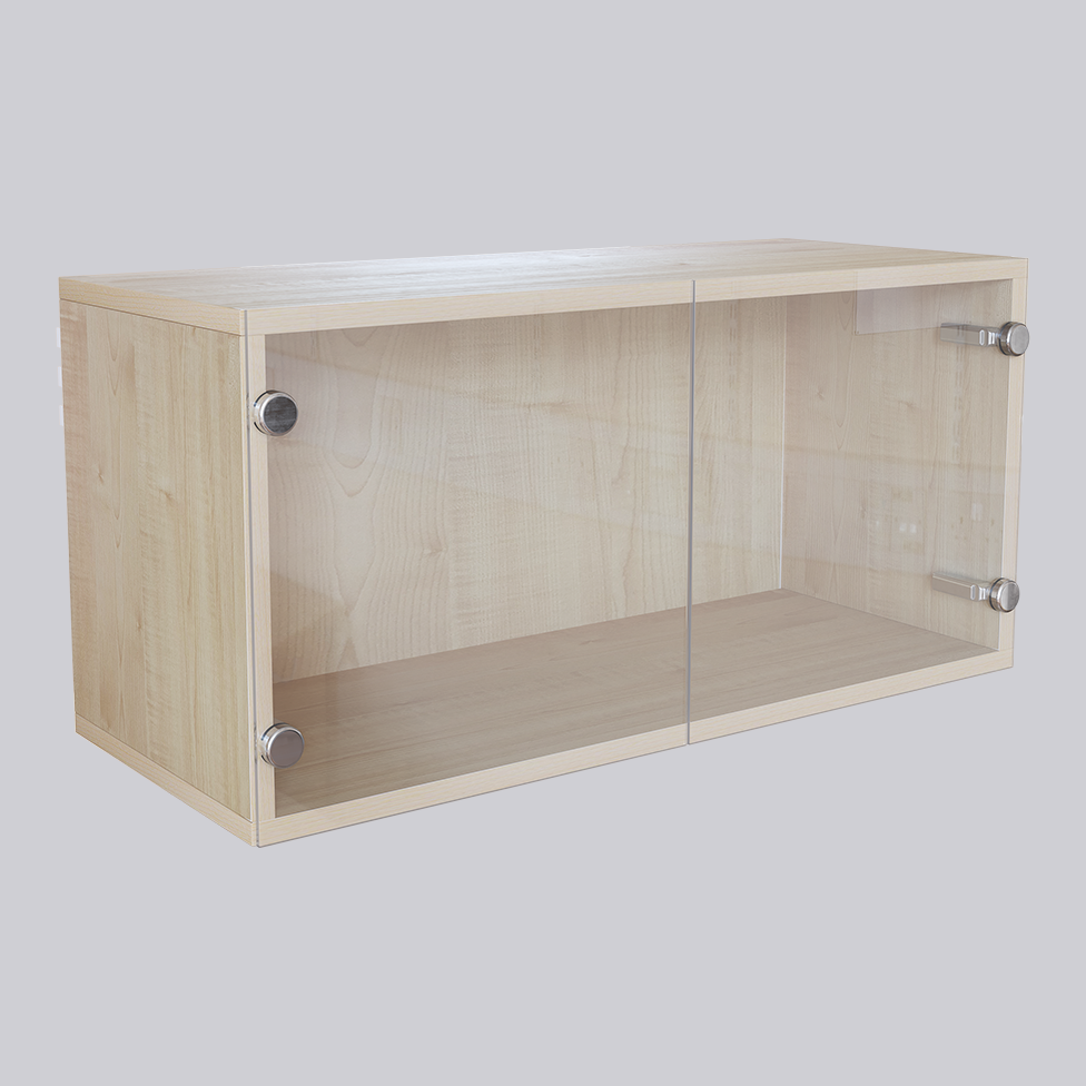 Wooden cabinet with glass doors