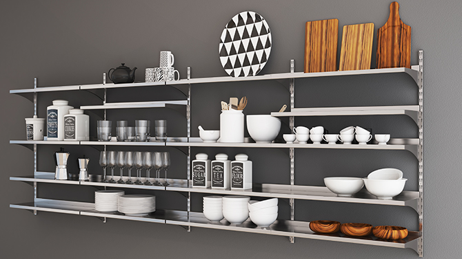 Complete metal shelves