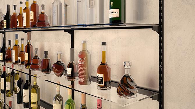 Complete glass shelves