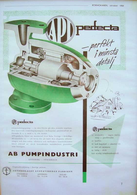 Bilden föreställer en äldre Perfecta-annons från 1958 som beskriver en värmeledningspump med så kallad våt motor.