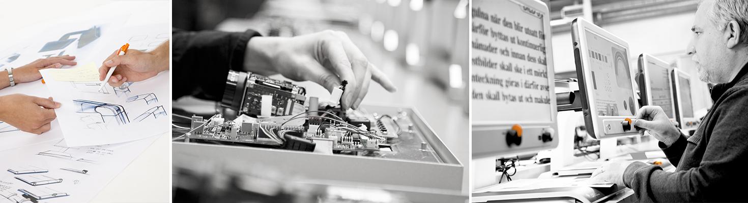 Ett kollage av tre bilder som visar skissande av ny produkt, montering samt testning av läskamera.