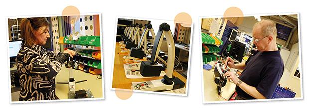 Tre forskellige billeder fra LVIs produktionsafdeling, hvor du ser, hvordan montører samler produkterne.