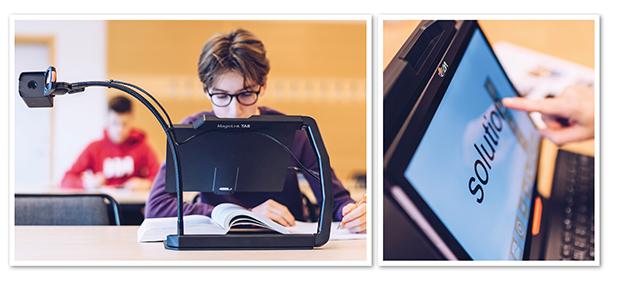 Kollage med två bilder där den ena visar en kille som använder MagniLink TAB med avståndskamera i klassrummet. Den andra visar närbild på skärmen där ett ord är förstorat.