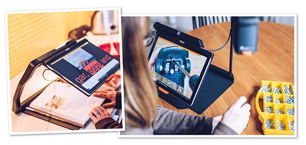 Kollage av två bilder där den ena visar hur MagniLink TAB används i köket för att förstora recpet. Den andra bilden visar en kvinna som skruvar på ett objekt där hon ser objektet förstorat på MagniLink TAB.