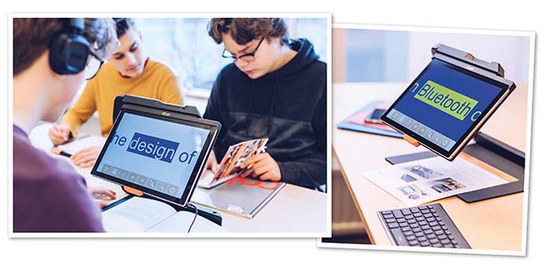 Kollage med två bilder där den ena visar tre killar i skolan där en kille med hörlurar lyssnar på OCR-bearbetad uppläst text i MagniLink TAB. Den andra bilden visar närbild på MagniLink TAB.