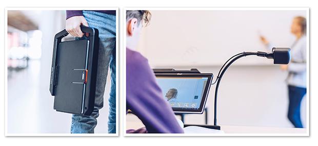 Kollage av två bilder där den ena visar en kille som bär på en ihopfälld MagniLink TAB. Den andra visar en elev som använder MagniLink TABs avståndskamera för att se vad läraren skriver på tavlan.