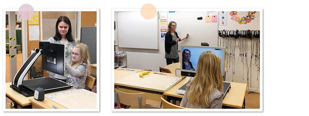 Två bilder på Sofia i klassrummet när hon använder sin läskamera MagniLink Zip.