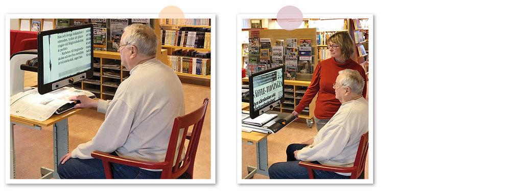 En bild på Åke vid läkameran när han läser tidningen. En annan bild på Åke och bibliotekschef Maria Persson.