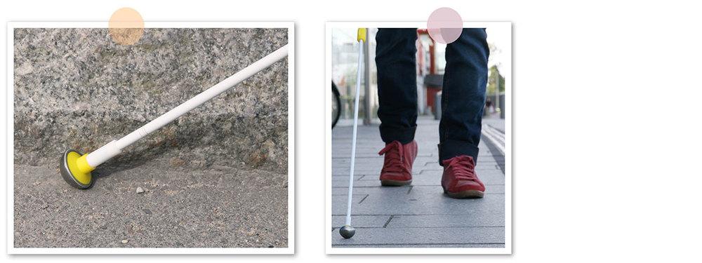 En bild på nedre delen av teknikkäppen Cirrus inklusive doppskon. En annan bild där man ser benen på en användare som är ute och går med käppen.