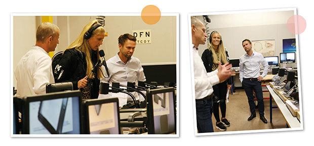 Två bilder som visar Radio Kronobergs reporter på besök hos LVI. Hon visas runt av Petter Helge och Henrik Blomdahl.