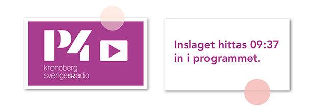 Bild på Radio Kronobergs logotype och länk till reportaget hos LVI som börjar 09:37 in i radioprogrammet.