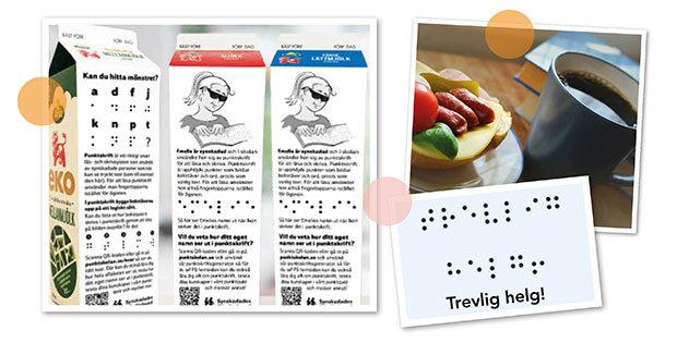 Kollage av tre bilder. På bild ett är det tre mjölkpaket som visar att de har information om punktskrift på baksidorna. Den andra bilden visar kaffe och frukostmacka. Den tredje bilden visar texten trevlig helg, skrivet med punktskrift.