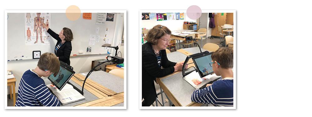 Eleven Noah använder sin MagniLink TAB som hjälpmedel i klassrummet, bland annat för att se vad läraren visar på tavlan.