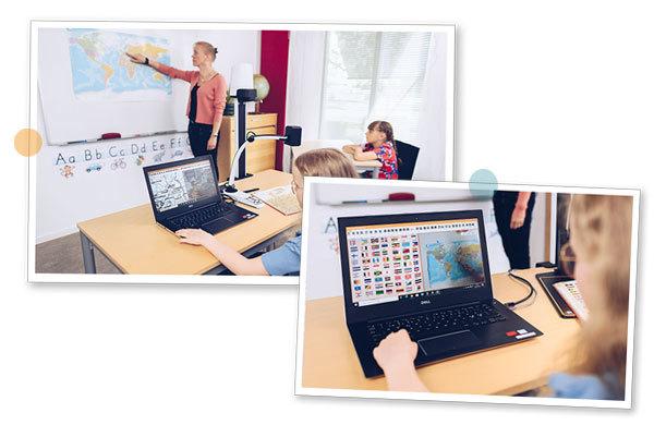 Två bilder som visar hur en synskadad elev i klassrummet ser två bilder på sin skärm, en från avståndskameran MagniLink AIR Distance som visar kartan på tavlan och en från läskameran som visar bild ur läroboken.