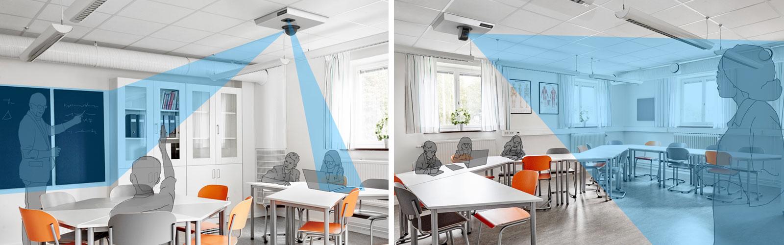 MagniLink AIR: To klasseværelsesbilleder, der viser, hvordan MagniLink AIR Uno og Duo bruges i et klasseværelse til at hjælpe elever med synsnedsættelse.
